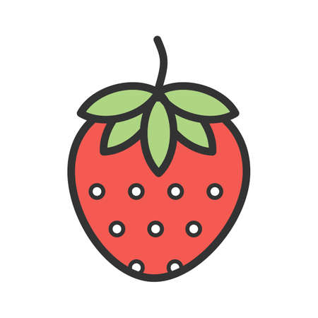 Strawberry, fruit icon  image. Can also be used for eatables, food and drinks. Suitable for use on web apps, mobile apps and print media Illustration