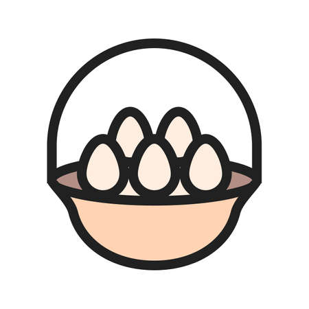 Eggs, basket, hen icon image. Can also be used for Easter, celebration, observances and holidays. Suitable for mobile apps, web apps and print media.