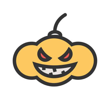 Pumpkin, lantern, dark icon illustration on white background.