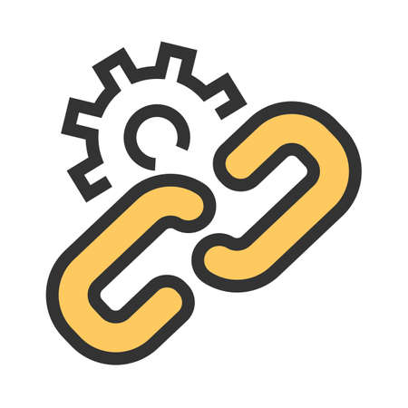 Chain, link, gear, connect icon image. Can also be used for seo, digital marketing, technology. Suitable for use on web apps, mobile apps and print media.