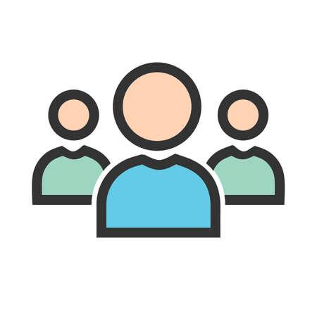 사람, 팀, 네트워크, 회사 아이콘 이미지. 검색 엔진 최적화, 디지털 마케팅, 기술에도 사용할 수 있습니다. 웹 앱, 모바일 앱 및 인쇄 매체에 사용하기에 적합합니다. 벡터 (일러스트)
