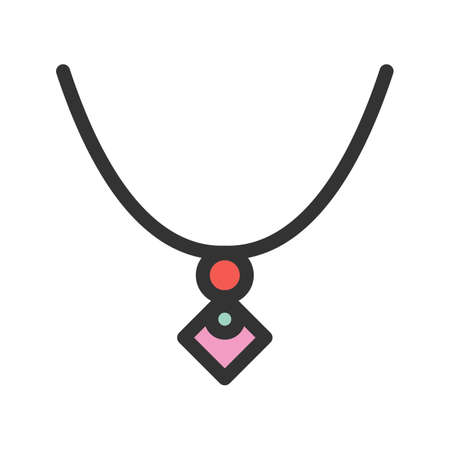 Necklace flat design vector illustration.