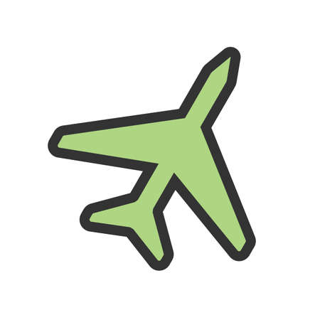 Plane, fly, aircraft icon vector image. Can also be used for summer, recreation and fun. Suitable for use on mobile apps, web apps and print media. Иллюстрация