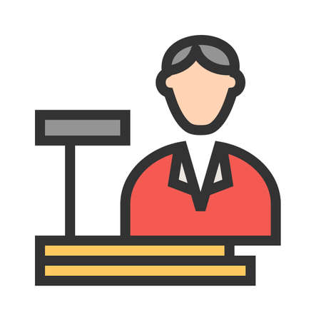 Cashier, bank, cash icon vector image. Can also be used for professionals. Suitable for web apps, mobile apps and print media.