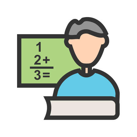 Teacher, male, classroom icon vector image. Can also be used for professionals. Suitable for web apps, mobile apps and print media. Иллюстрация