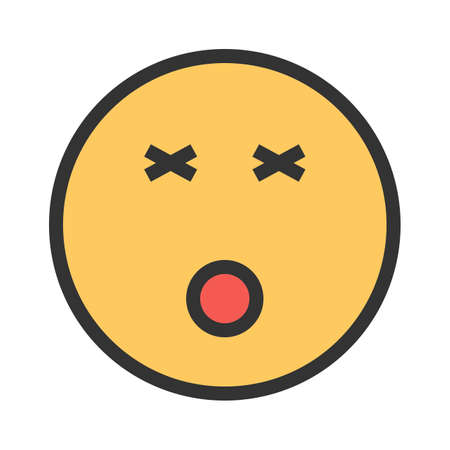 Dizzy, dizziness, head icon vector image. Can also be used for emotions and smileys. Suitable for mobile apps, web apps and print media. Иллюстрация
