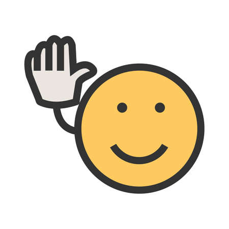 Bye, wave, goodbye icon vector image. Can also be used for emotions and smileys. Suitable for mobile apps, web apps and print media.
