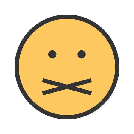 음소거, 침묵, 조용한 아이콘 벡터 이미지. 감정과 스마일에도 사용할 수 있습니다. 모바일 앱, 웹 앱 및 인쇄 매체에 적합합니다. 일러스트