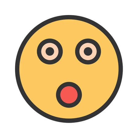 Shocked, surprised, amazed icon vector image. Can also be used for emotions and smileys. Suitable for mobile apps, web apps and print media.