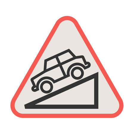 Down, warning, sign icon vector image. Can also be used for traffic signs. Suitable for web apps, mobile apps and print media.