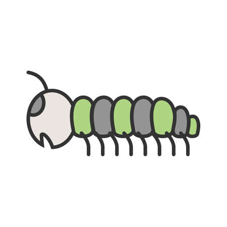 Caterpillar, larva, moths icon vector image. Can also be used for Animals and Insects. Suitable for mobile apps, web apps and print media.