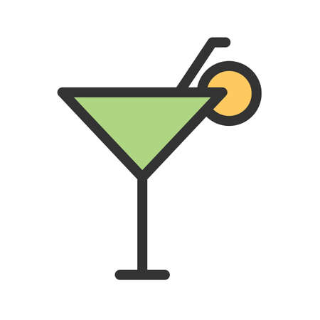 Cocktail, drink, glass icon vector image. Can also be used for summer, recreation and fun. Suitable for use on mobile apps, web apps and print media.