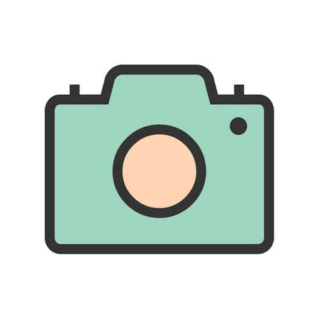Camera, picture, image icon vector image. Can also be used for summer, recreation and fun. Suitable for use on mobile apps, web apps and print media.  イラスト・ベクター素材