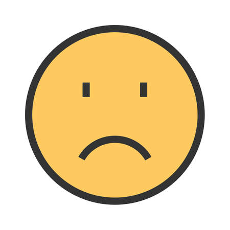 Sadness, sad face, upset icon  image. Can  be used for emotions and smileys. Suitable for mobile apps, web apps and print media. Ilustração