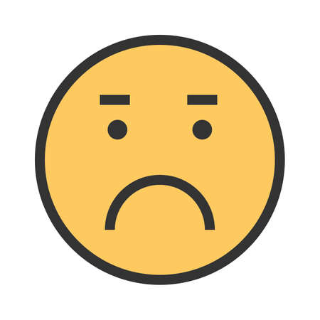 Worried, sad, upset icon vector image. Can also be used for emotions and smileys.