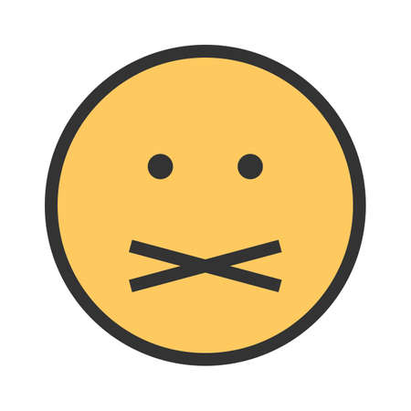 Mute, silent, quiet icon vector image. Can also be used for emotions and smileys. Suitable for mobile apps, web apps and print media. Illustration