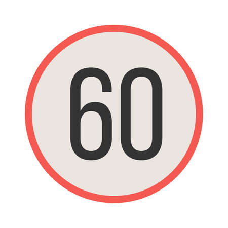 Sign, speed, 60 icon vector image. Can also be used for traffic signs. Suitable for web apps, mobile apps and print media. Illustration