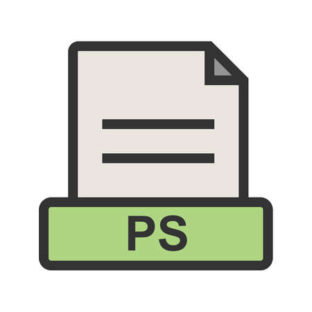 PS, file, presentation icon vector image. Can also be used for file format, design and storage. Suitable for mobile apps, web apps and print media.