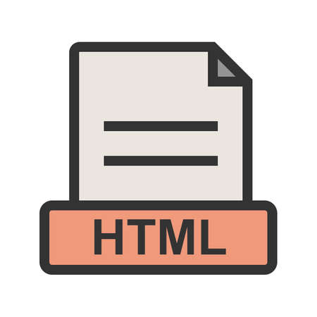 HTML, file, extension icon vector image. Can also be used for file format, design and storage. Suitable for mobile apps, web apps and print media.