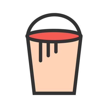 Bucket, paint, plastic icon vector image. Illustration