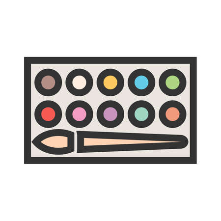 Watercolor with paint brush icon. Illustration