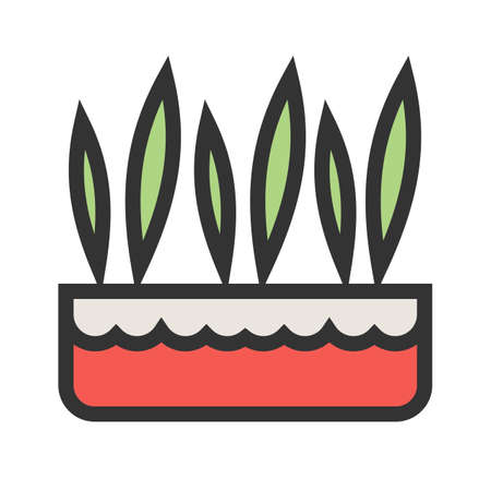 Grass, pot, plant icon vector image.Can also be used for gardening. Suitable for mobile apps, web apps and print media.