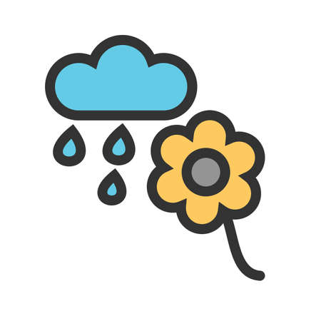 Flower, rain, nature icon vector image.Can also be used for gardening. Suitable for mobile apps, web apps and print media.
