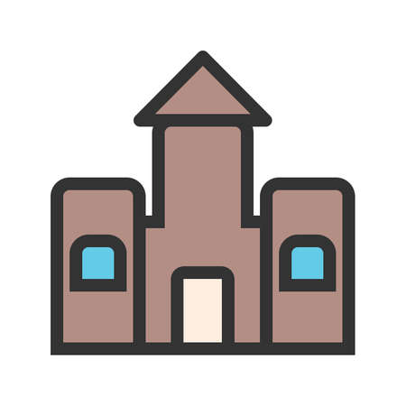 Castle, bouncy, jumping icon vector image.Can also be used for toy and games. Suitable for mobile apps, web apps and print media. Illustration