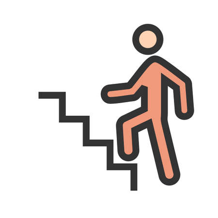 Stairs, climbing, walking icon vector image. Can also be used for activities. Suitable for use on web apps, mobile apps and print media. Illustration