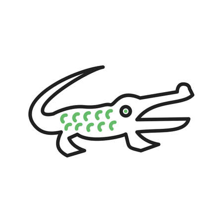 Alligator doodle with green scales. 向量圖像