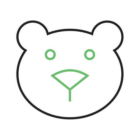 Polar bear doodle with green eyes and nose. Çizim