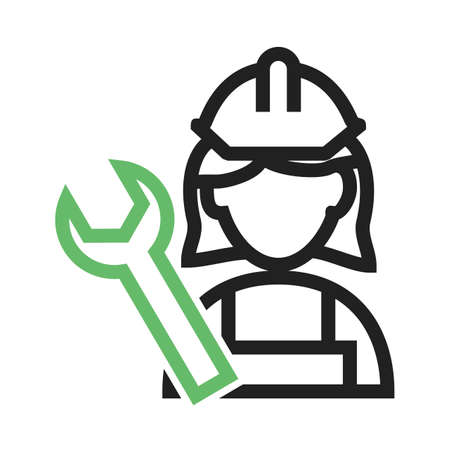 Mechanic, car, female icon vector image. Can also be used for professionals. Suitable for web apps, mobile apps and print media. Illustration