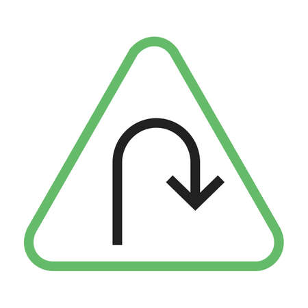 Turn, road, sign icon vector image. Can also be used for traffic signs. Suitable for web apps, mobile apps and print media.