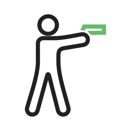 Shooting in standing position illustration. Illustration