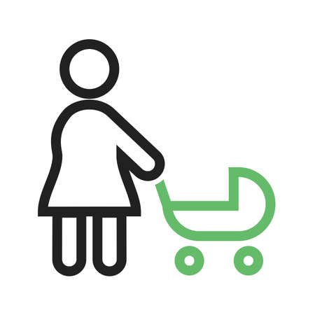Walking with baby in stroller simple illustration.