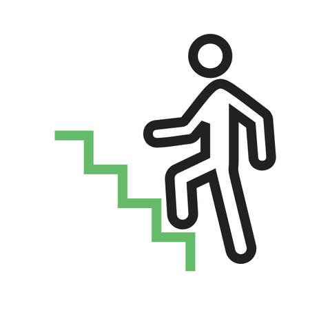Trap, klimmen, pictogram vector afbeelding wandelen. Kan ook worden gebruikt voor activiteiten. Geschikt voor gebruik op web-apps, mobiele apps en gedrukte media. Vector Illustratie