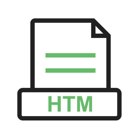 A HTM file web illustration on white background.