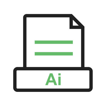 AI, file, extension icon vector image. Can also be used for file format, design and storage. Suitable for mobile apps, web apps and print media.