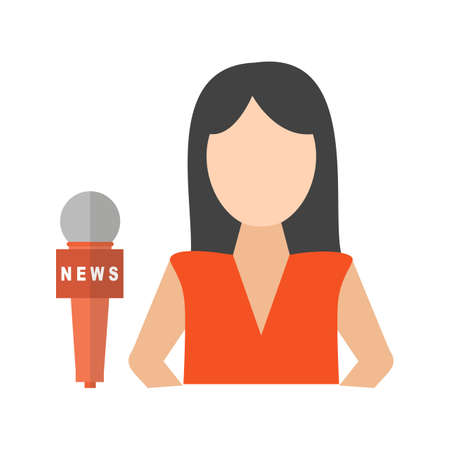 News, female, anchor icon vector image. Can also be used for news and media. Suitable for mobile apps, web apps and print media. Vettoriali