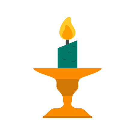 Candle on Stand Vector illustration.