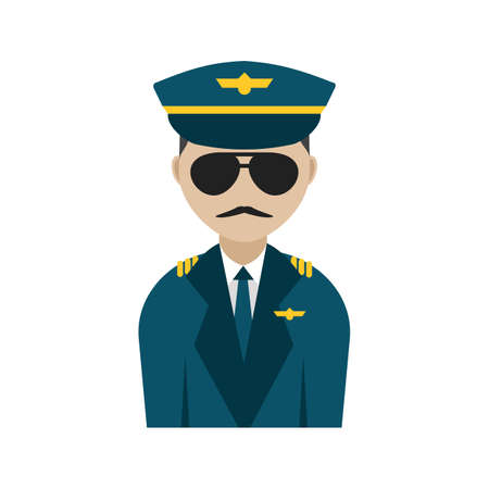 Captain, flight, pilot icon vector image. Can also be used for airport. Suitable for mobile apps, web apps and print media. Vettoriali
