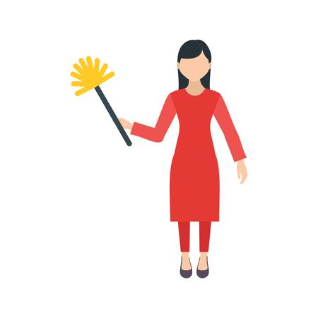 Woman Dusting house Illustration