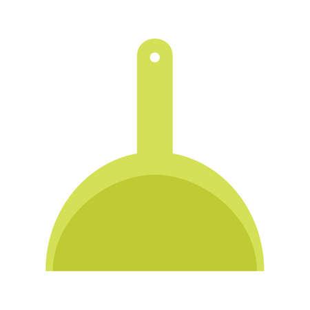 Green plastic dustpan Vector illustration isolated on white background.