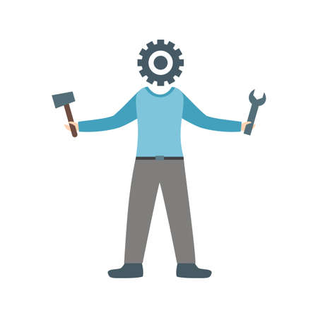 Man wearing blue sweatshirt holding tools on both hands with gear for a head. Vector illustration isolated on white background. Illusztráció