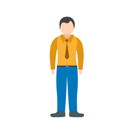Vector illustration of a standing man wearing long sleeved shirt with tie and blue pants. Isolated on white background. Illustration