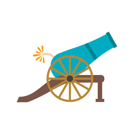 Cannon, ball, shooting icon vector image. Can also be used for Pirate. Suitable for use on web apps, mobile apps and print media 일러스트
