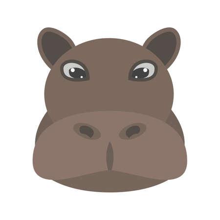 Nijlpaard dier pictogram vector afbeelding.