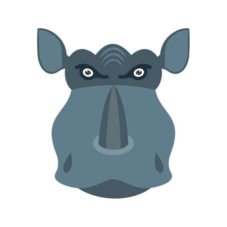 Rhino, africa, horn icon vector image. Can also be used for Animal Faces. Suitable for mobile apps, web apps and print media. Illustration