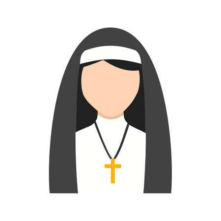 Nun, black, lady icon vector image. Can also be used for Avatars. Suitable for use on web apps, mobile apps and print media. Illustration