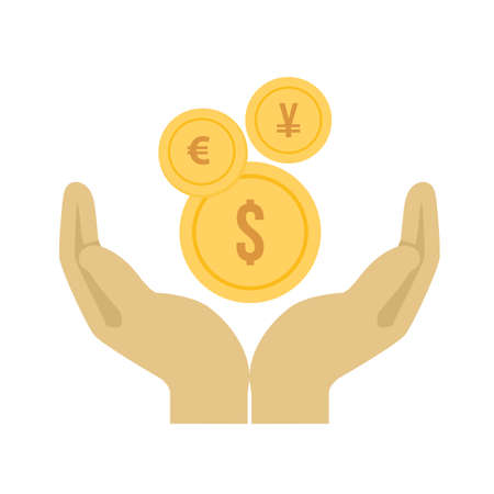 Money, hand, currency, coins icon vector image. Can also be used for banking, finance, business. Suitable for web apps, mobile apps and print media. Illustration